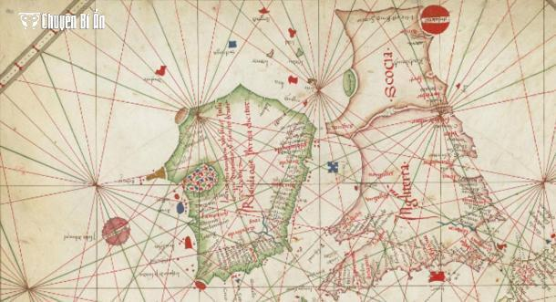 The  Nautical chart of Western Europe (1473) shows Hy-Brasil in a circular shape (British Library) Bản đồ hàng hải khu vực Tây Âu (1473) miêu tả hòn đảo Hy-Brasil trong một hình tròn. (Ảnh: Thư viện Anh)